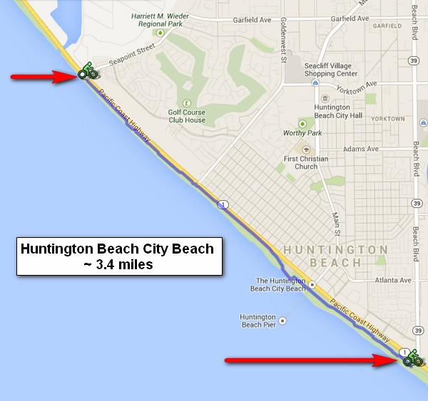Huntington City Beach Bike Path Southern California Beaches
