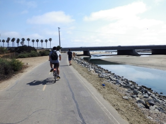 Santa Ana River Trail Pch View And Hb Behind