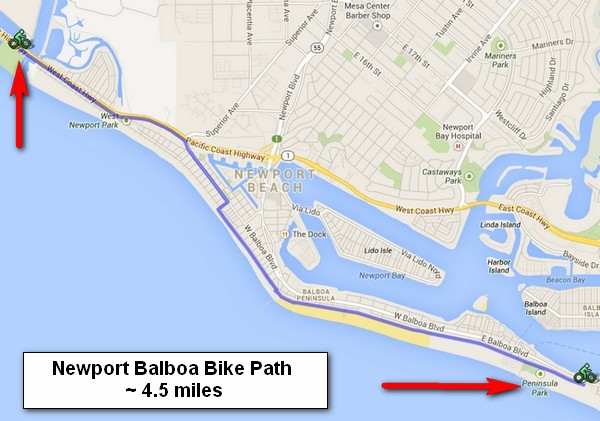 Newport Balboa Bike Path Map