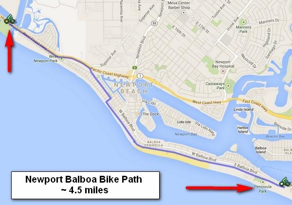 Newport Balboa Bike Path Southern California Beaches