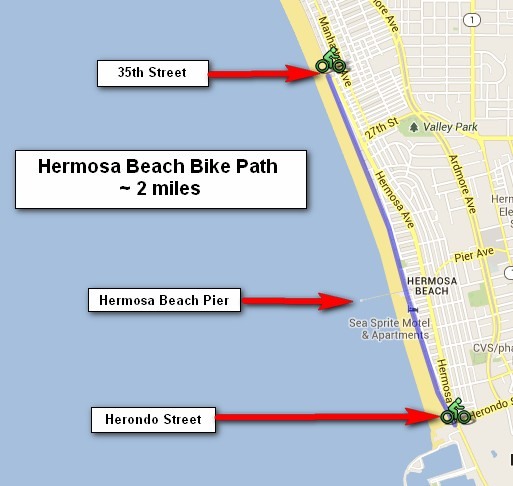 Bikes Hermosa Beach Hermosa Beach Bike Path Map