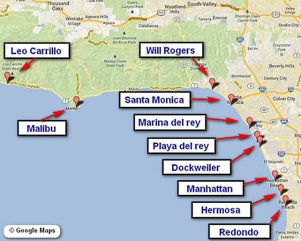 Southern California Beaches Best Vacation Spots: Map Of Southern California Coastline At Slyspyder.com